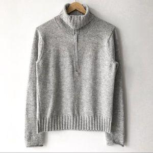 GAP Henley Turtleneck Sweater in Heather Grey